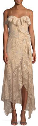 Jonathan Simkhai Metallic Sleeveless Ruffle Asymmetric Dress