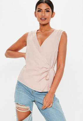 Missguided Pink Sleeveless Tie Side Blouse