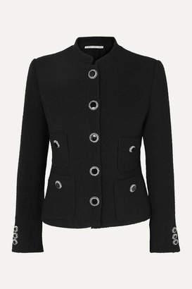 Alessandra Rich Button-embellished Wool-blend Tweed Jacket - Black