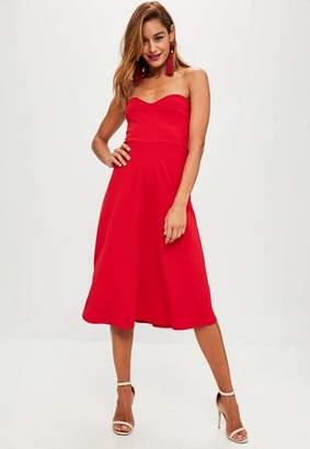 Missguided Red Sweetheart Bandeau Midi Dress, Red