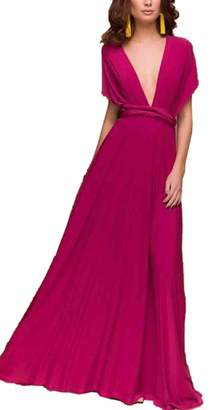 Pim Sexyshine Women's Infinity Backless Gown Dress Multi-Way Wrap Halter Cocktail Dress Bandage Bridesmaid Long Dress (BL,L)