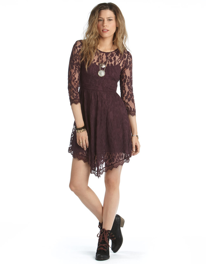 FREE PEOPLE Asymmetric Lace Overlay Dress