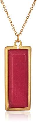 "Canvas Rectangle Gemstone 30"" Burgundy Jade Pendant Necklace"