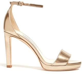 Jimmy Choo Misty 100 Metallic Leather Platform Sandals - Womens - Gold