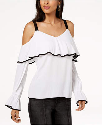 INC International Concepts I.n.c. Ruffled Cold-Shoulder Top, Created for Macy's