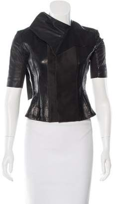 Rick Owens Leather Short Sleeve Jacket