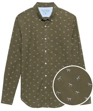 Banana Republic Grant Slim-Fit Luxe Poplin Zebra Print Shirt