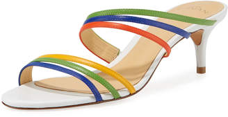 Alexandre Birman Colorblock Kitten-Heel Slide Sandals