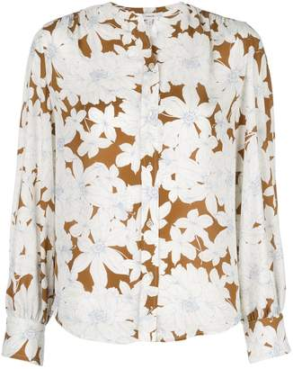 Vince Tropical Blooms shirred back blouse