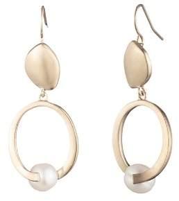 Carolee Sculptural Cultured Freshwater Pearl Double Drop Earrings