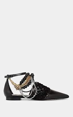 Loewe Women's Leather & Suede Macramé Ballet Flats - Black
