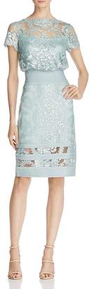 Tadashi Shoji Short Sleeve Sequin Lace Blouson Dress $348 thestylecure.com