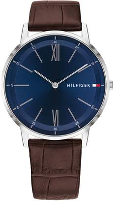 Tommy Hilfiger Dress Watch With Brown Leather Croc Strap