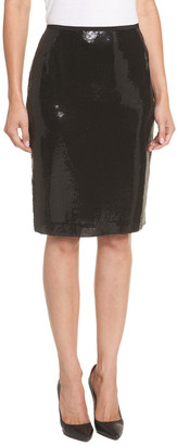 Lafayette 148 New York Black Embellished Silk Skirt