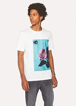 Paul Smith Men's White T-Shirt With Appliqué 'Rose' Print