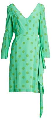 Natasha Zinko - V Neck Polka Dot Silk Crepe Dress - Womens - Green