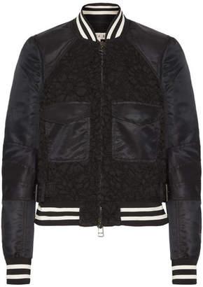 Veronica Beard Jones Shell And Corded Lace Bomber Jacket - Black
