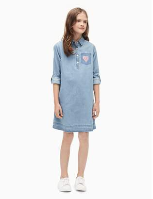 Calvin Klein girls logo chambray roll-up dress