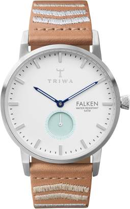 Triwa Wave Falken Embroidered Leather Strap Watch, 38mm