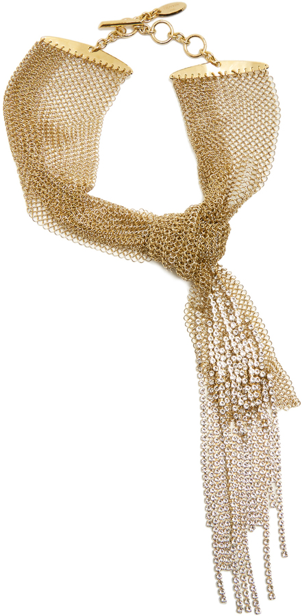 LanvinLANVIN Chain mail knotted crystal-embellished necklace