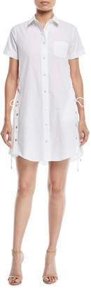 Sacai Short-Sleeve Button-Front Poplin Shirtdress w/ Lace-Up Side