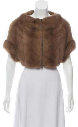 Brunello Cucinelli Mink Cashmere-Trimmed Shrug Brown Mink Cashmere-Trimmed Shrug