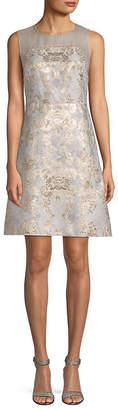 Elie Tahari Floral Brocade A-Line Dress