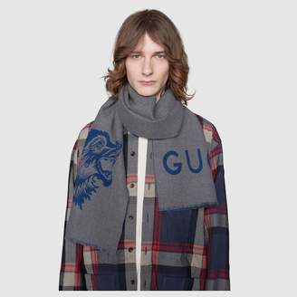 Gucci Wool scarf with wolf jacquard