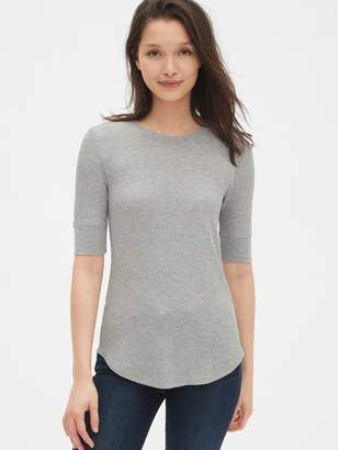 Gap Waffle-Knit Elbow Sleeve Crewneck T-Shirt