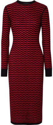 Marc Jacobs Striped Merino Wool Midi Dress - Red