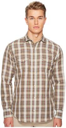 Eleventy Linen Plaid Snap Western Shirt Men's T Shirt