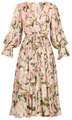 Dolce & Gabbana Lily Print Tie Waist Dress - Womens - Pink
