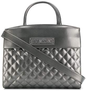 Love Moschino logo quilted tote