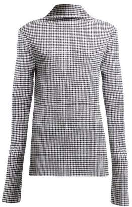 Jil Sander Long Sleeve Gingham Top - Womens - Navy White
