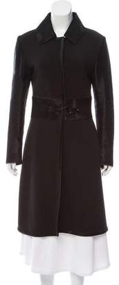 Trussardi Leather-Accented Knit Coat