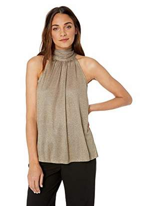 Halston Women's Sleeveless Mock Neck Metallic Knit Hi Lo Top
