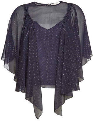 See by Chloe Dot Print Draped Sleeve Blouse