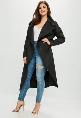 Missguided Curve Grey Tailored Waterfall Coat