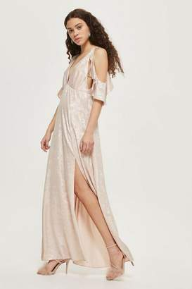 Topshop **foil cold shoulder maxi dress