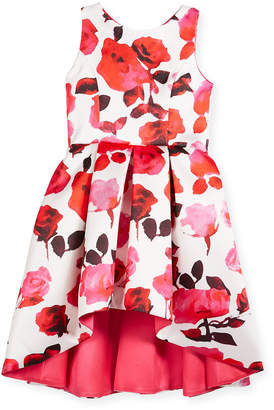 Neiman Marcus Zoe Matte Sateen Floral High-Low Dress, Size 4-6X