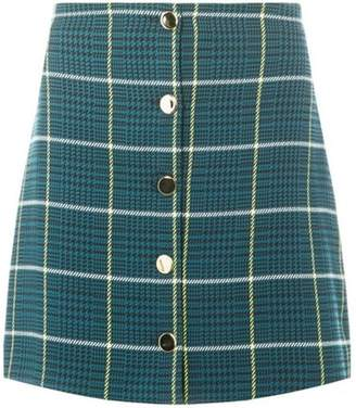 Dorothy Perkins Womens Teal Green Check Button Mini Skirt