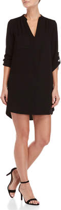 Lush Quarter Sleeve Pocket Shift Dress