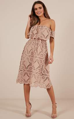 Showpo Get Ready dress in beige lace - 18 (XXXL) Sale Dresses