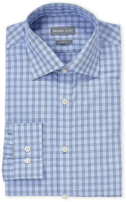 Michael Kors Blue Windowpane Slim Fit Dress Shirt
