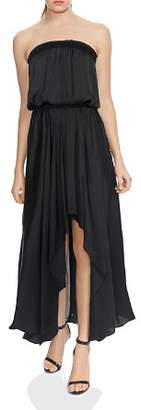 Halston Strapless Ruched Handkerchief Hem Maxi Dress