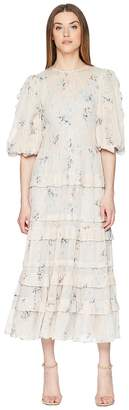Rebecca Taylor Long Sleeve Faded Floral Dress Women's Dress