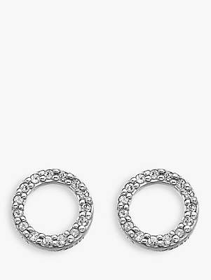 Hot Diamonds Bliss 0.005ct Diamond And Topaz Circle Stud Earrings, Silver/Clear