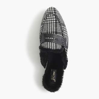 J.Crew Faux fur-lined Academy penny loafer mule in glen plaid