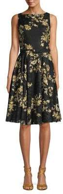 Gabby Skye Floral Lace Belted Dress