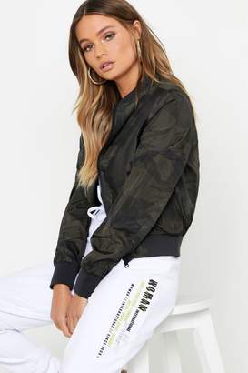 boohoo Camo Print Bomber Jacket